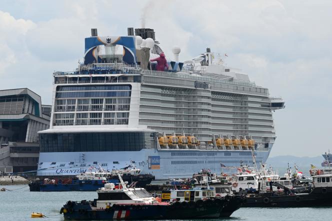 Le paquebot de croisière « Quantum of the Seas », de la compagnie Royal Caribbean, ancré dans le port de Singapour, le 9 décembre 2020.