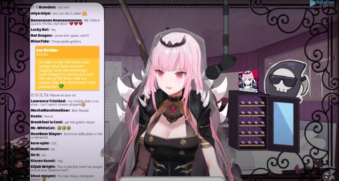 Capture d'écran de la chaîne YouTube de Calliope Mori, une streameuse virtuelle très populaire aux Etats-Unis.