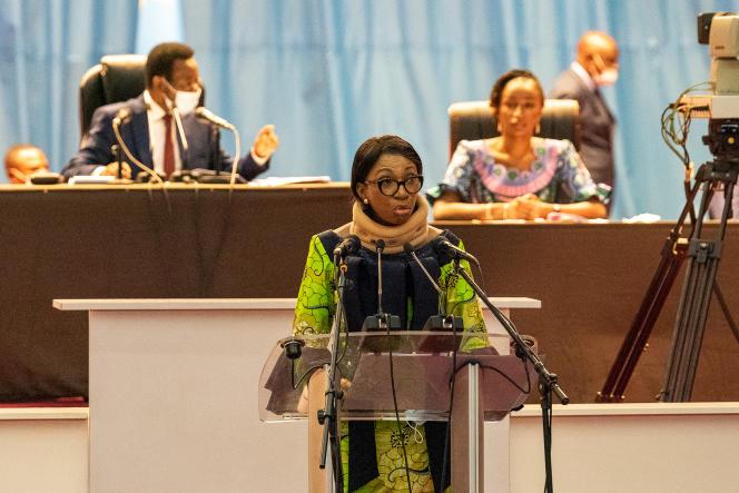 La présidente de l'Assemblée nationale de la RDC, Jeanine Mabunda, à Kinshasa, le 10 décembre 2020.