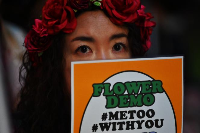 Lors d'une manifestation du mouvement féministe« Flower Demo», en 2019.