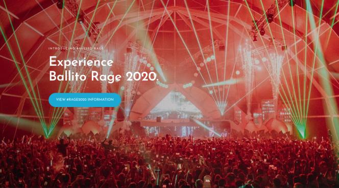 Page d'accueil du site du Rage Festival de Ballito, en Afrique du Sud.