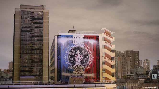 La fresque de Shepard Fairey, aka Obey, a été vandalisée à Paris le 14 décembre.