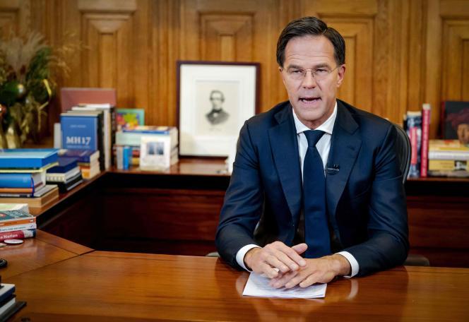 Le premier ministre néerlandais, Mark Rutte, lors de son allocution depuis la «Torentje», ses bureaux à La Haye, le 14 décembre 2020.