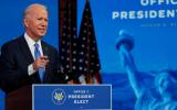U.S. President-elect Joe Biden delivers a televised address to the nation, after the U.S. Electoral College formally confirmed his victory over President Donald Trump in the 2020 U.S. presidential election, from Biden's transition headquarters at the Queen Theater in Wilmington, Delaware, U.S., December 14, 2020. REUTERS/Mike Segar