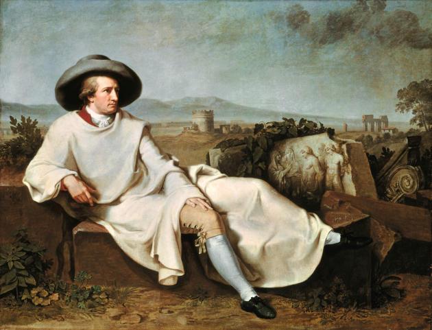 «Goethe dans la campagne romaine», 1787, toile de Johann Heinrich Wilhelm Tischbein (1751–1829).