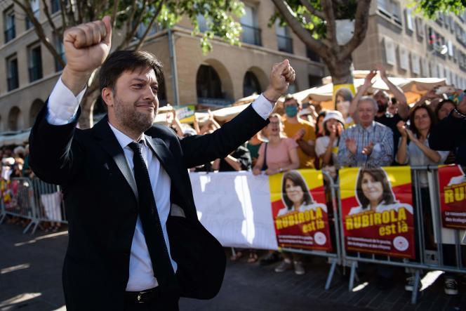 Benoît Payan, le 4 juillet, à Marseille devant le conseil municipal au cours duquel le maire a été élu.