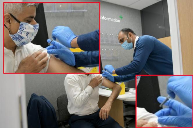 Un montage montre que sur la photo officielle, l'infirmier n'a pas enlevé le capuchon de la seringue lors de la vaccination de M. Khan contre la grippe.