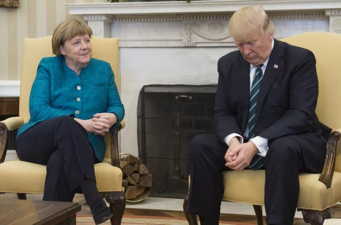 La chancelière allemande, Angela Merkel, et le président américain Donald Trump en mars 2017 à la Maison Blanche, à Washington.