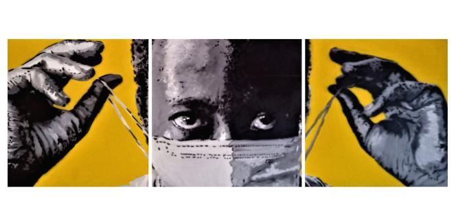 «Un-invited Covid», une œuvre de l'artiste angolais Ricardo Kapuka visant à encourager ses compatriotes à porter le masque pour lutter contre l'épidémie Covid-19.
