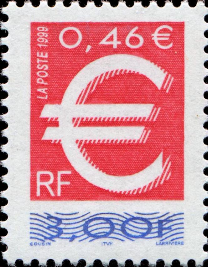 Timbre paru en 1999, retiré en 2002, affichant la conversion en euro de sa valeur faciale. Tarif de la lettre« prioritaire».