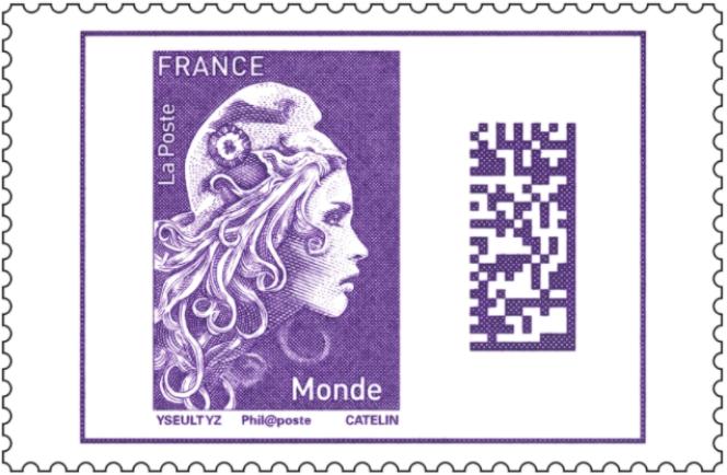 Timbre d'usage courant « Marianne » actuel, dessiné par Yseult YZ Digan, gravé par Elsa Catelin. Tarif lettre pour le monde entier, Europe incluse.