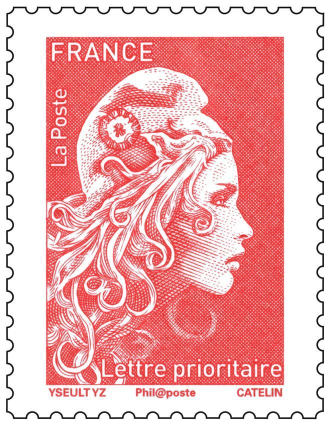 Timbre d'usage courant« Marianne» actuel, dessiné par Yseult YZ Digan, gravé par Elsa Catelin. Tarif lettre« prioritaire».