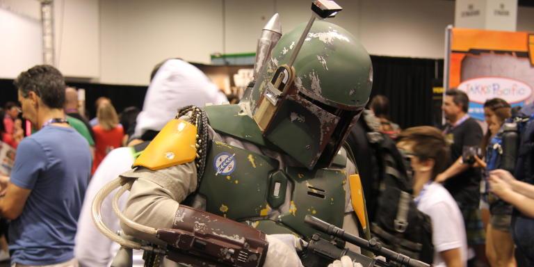 Un fan déguisé en Boba Fett à la «Star Wars Celebration» d'Anaheim, en avril 2015.