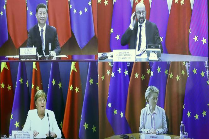 Xi Jinping, Charles Michel, Angela Merkel et Ursula von der Leyenlors du sommet par visioconférence UE-Chine, le 14 septembre.