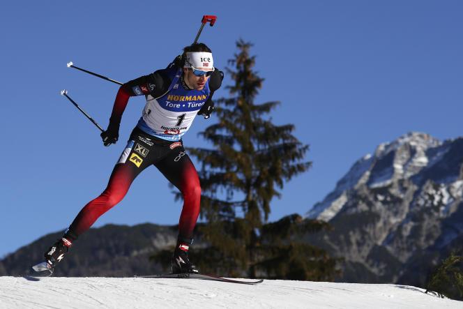Sturla Holm Laegreid, lors de sa victoire à la poursuite masculined'Hochfilzen (Autriche), le 19 décembre 2020.