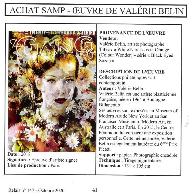 « Relais», acquisition d'une oeuvre de Valérie Belin, par la SAMP, au profit du Musée de La Poste de Paris.