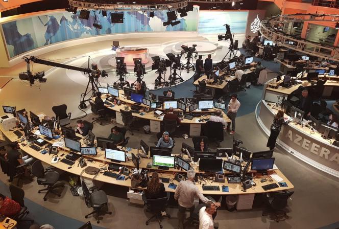 Dans les locaux d'Al-Jazira, à Doha, au Qatar, en 2017.
