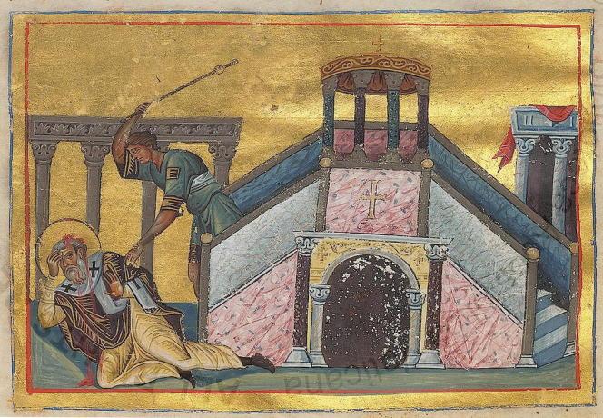 Martyre de Jacques le Juste. Le frère de Jésus a été exécuté en 62. Ménologe de Basile II, manuscrit de la fin du Xesiècle.