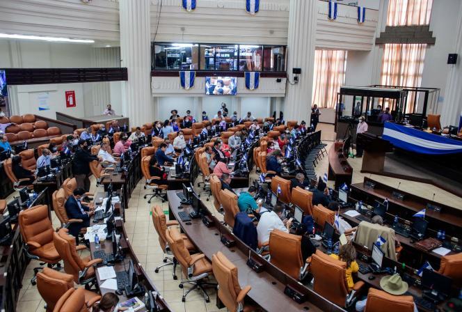 Le Parlementnicaraguayen discute d'une loi «pour la régulation des agents étrangers, le 15 octobre, à Managua.
