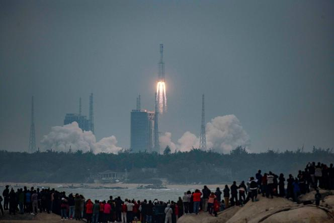 Lancement d'une fusée Longue Marche-8 Y1 du centre spatial chinois de Wenchang (Hainan), le 22 décembre 2020.