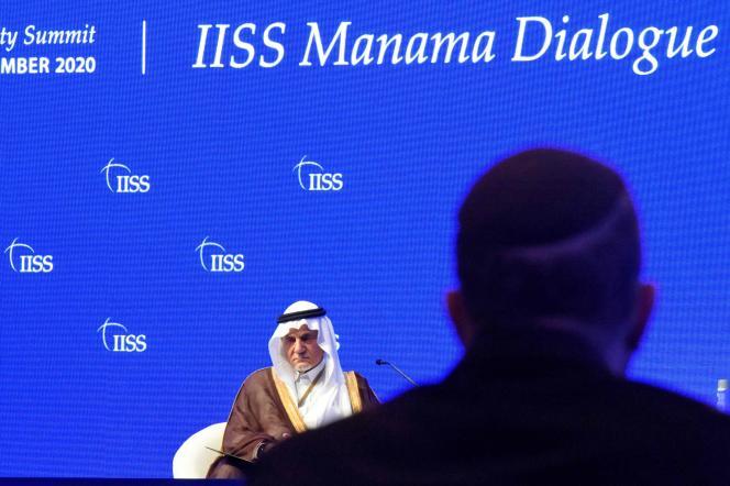Le prince saoudien Turki Al-Faycal, au Manama Dialogue, à Bahreïn, le 6 décembre.