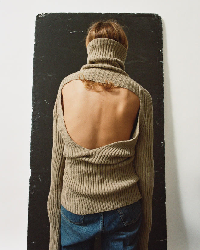 Pull en laine côtelée, collection homme, 980 €, Bottega Veneta.