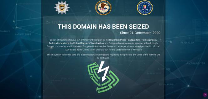 La page d'avertissement annonçant la fermeture de Safe-Inet, et de la saisie par les autorités des serveurs du service de VPN, mercredi 23 décembre.