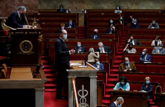 Le premier ministre, Jean Castex, à l'Assemblée nationale, le 16 décembre.