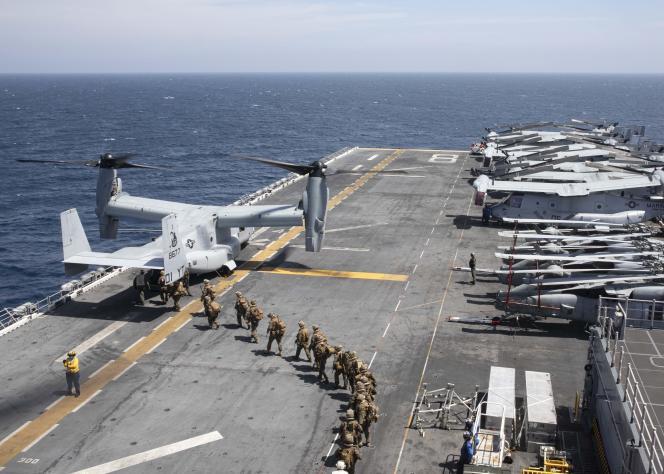 A bord dunavire porte-hélicoptères USS Makin Island, au large de la Somalie, le 22décembre 2020.