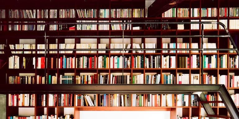 France, Garches, 16 décembre 2020, une des bibliothèques de Mercedes Erra  dans une annexe à l'extérieur de sa maison, composée uniquement de livres de poches.