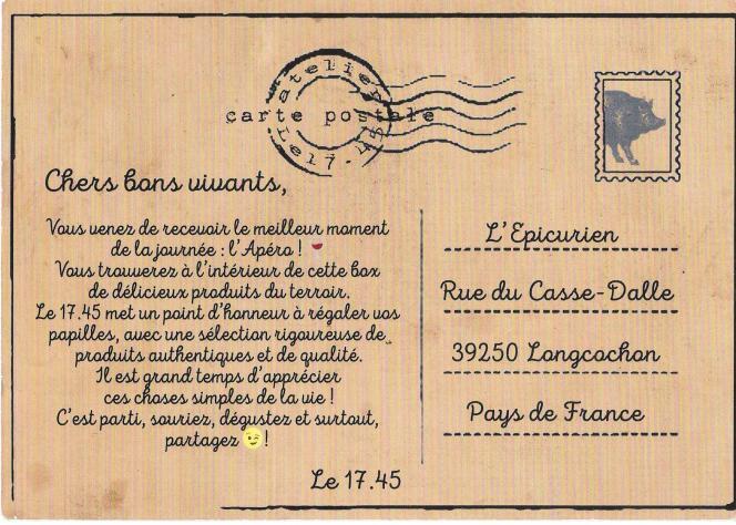 Publicité pour 17.45 en forme de carte postale timbrée.