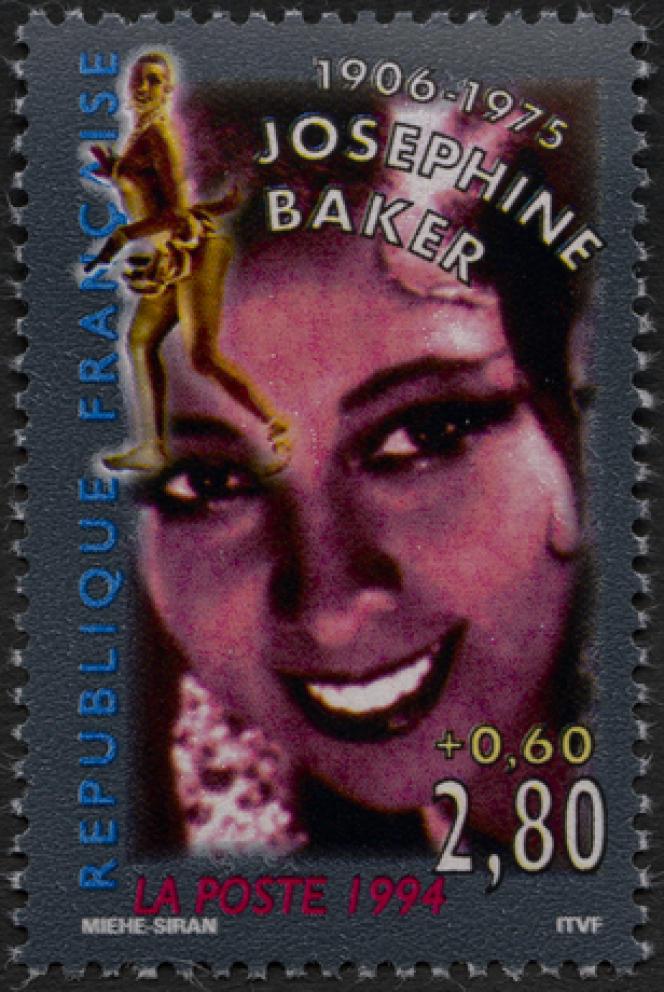 « Joséphine Baker», parFrançois Miehe et Evelyne Siran, timbre paru en 1994.