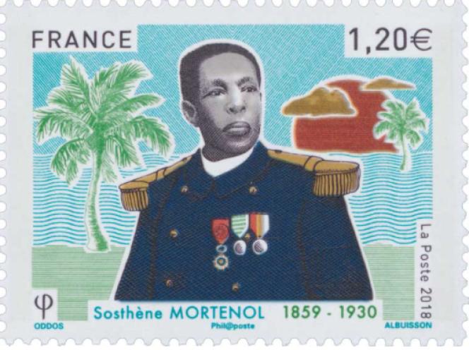 « Sosthène Mortenol», timbre dessiné par Eloïse Oddos, gravé par Pierre Albuisson, paru en 2018.
