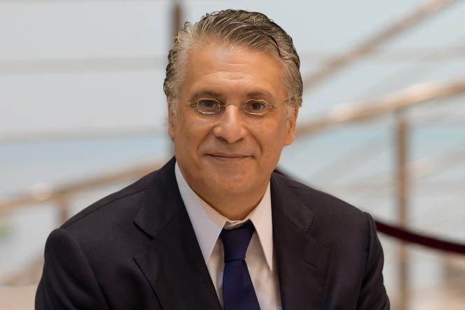 Nabil Karoui, lors d'un débat avant le second tour de l'élection présidentielle tunisienne,le 11octobre2019.
