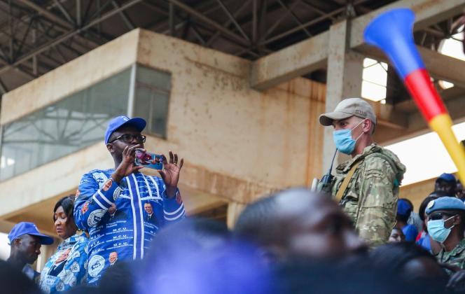 Un mercenaire russe de la société privée Wagner lors d'un rassemblement électoral de Faustin-Archange Touadéra, à Bangui, le 19 décembre.