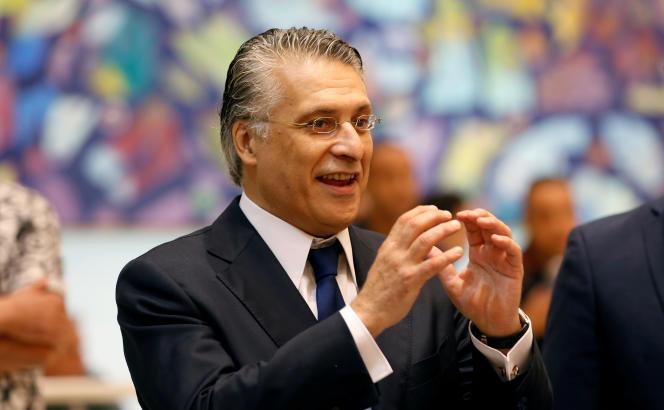 Nabil Karoui lors d'un débat télévisé à Tunis, le 11octobre 2019, entre les deux tours de l'élection présidentielle.