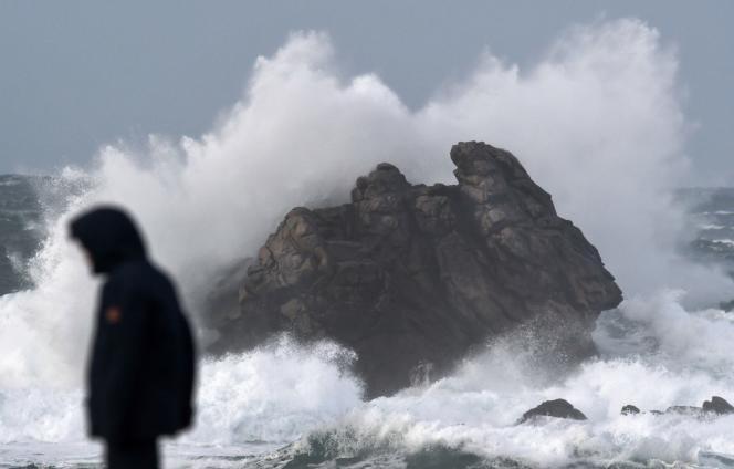 Sur le littoral de la commune de Porspoder (Finistère), au nord-ouest de Brest, le 27décembre.