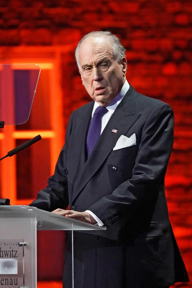 Ronald Lauder, le président du congrès juif mondial, le 27 janvier 2020, à Auschwitz (Pologne), lors de la cérémonie de commémoration du 75e anniversaire de la libération du camp d'Auschwitz-Birkenau.