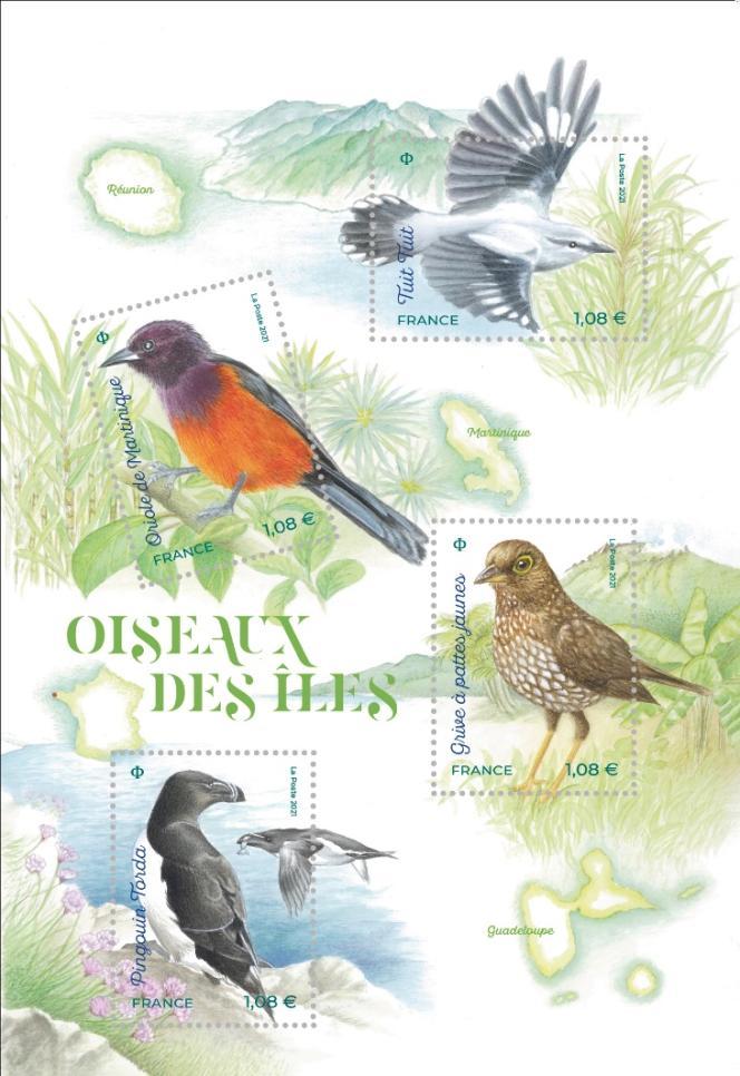 « Oiseaux des îles», illustrations d'Isabelle Molinard, mise en page de Valérie Besser. Mise en vente générale à La Poste le 11 janvier 2021.