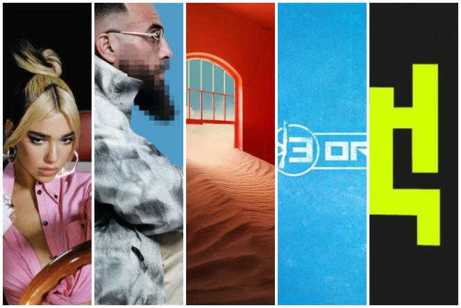 Les pochettes d'albums de Dua Lipa, Médine, Tame Impala, 13 Organisé et Working Men's Club.