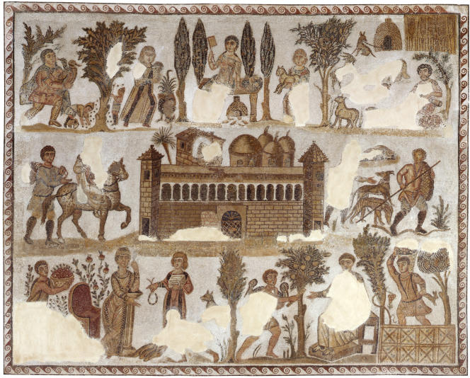 Ferme romaine, avec des scènes de la vie à la campagne, fin IVe-début Ve siècle.