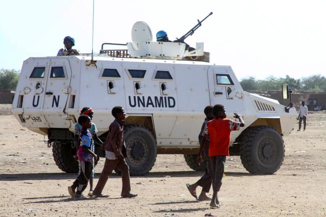 Armored personnel carrier from the United Nations and African Union (UNAMID) peacekeeping mission in the Kalma IDP camp in Nyala, the capital of South Darfur, December 30, 2020.