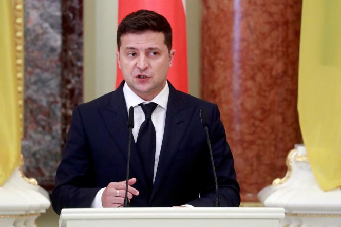 ولادیمیر زلنسکی ، رئیس جمهور اوکراین طی یک جلسه مطبوعاتی در کیف ، 12 اکتبر 2020.
