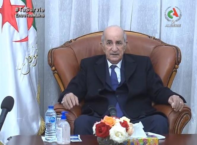 Capture d'écran de l'allocution téléviséedu président Abdelmadjid Tebboune diffusée à la télévision algérienne le 29 décembre 2020 après son retour à Alger au termededeux mois d'hospitalisation en Allemagne pour cause de Covid-19.