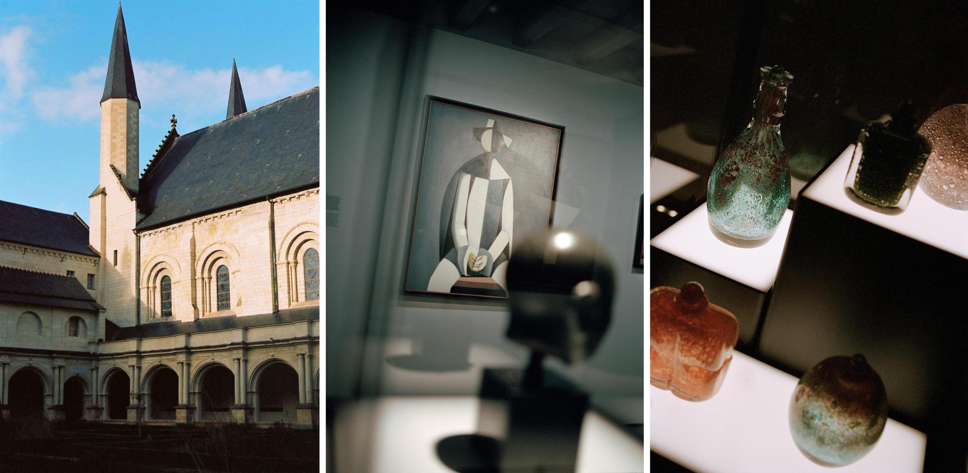De gauche à droite: le cloître du Grand-Moutier de l'Abbaye Royale, un«Pierrot» (1961) de Duilio Barnabè, et des créations du verrier Maurice Marinot (1882-1960), dans le Musée d'art moderne.