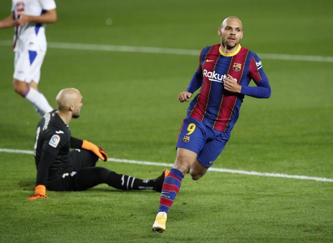 Martin Braithwaite, du FC Barcelone, lors du match de la Liga Santander contre Eibar, au Camp Nou de Barcelone (Espagne), le 29 décembre 2020.