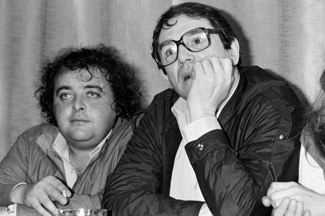Jacques Villeret et Robert Hossein, au festival de Cannes, le 26 mai 1981.