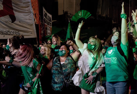 The supporters of legal abortion during the votation of the bill about to legalize abortion in Argentina, in front of the Congress. December 30, 2020. Buenos Aires, Argentina