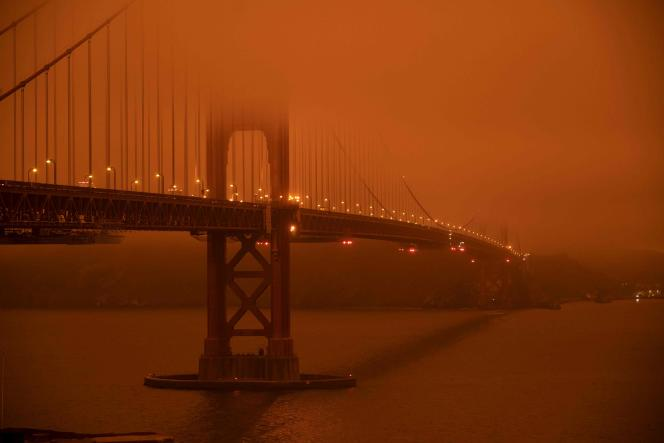 Le Golden Gate Bridge de San Francisco, en septembre 2020, alors que la Californie était en proie à des incendies de grande ampleur.