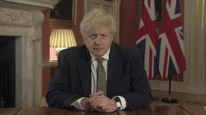 Le premier ministre britannique, Boris Johnson, lors de son allocution télévisée, lundi 4 janvier.